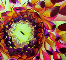Purple Dahlia macro flower watercolour art by grosselart