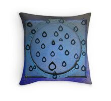 Metal Drops In Blue Throw Pillow
