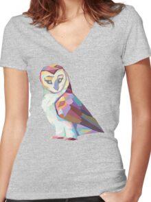 Geometric Owl Women's Fitted V-Neck T-Shirt