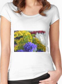 Colorful image in watercolor style with painted flowers. Women's Fitted Scoop T-Shirt