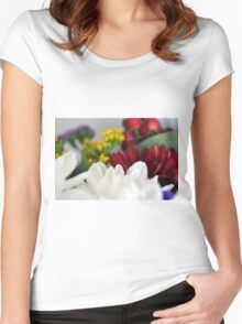 Macro on colorful flower petals. Women's Fitted Scoop T-Shirt