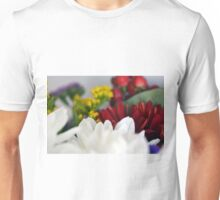 Macro on colorful flower petals. Unisex T-Shirt