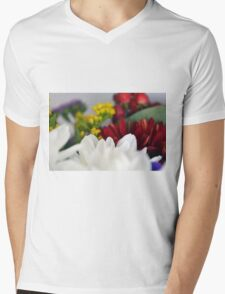 Macro on colorful flower petals. Mens V-Neck T-Shirt