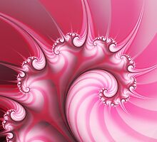 Candy Pink Spiral Fractal by Kitty Bitty