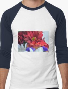 Macro on colorful flower petals in watercolor style Men's Baseball ¾ T-Shirt