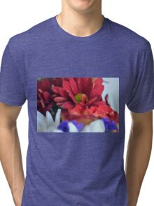 Macro on colorful flower petals in watercolor style Tri-blend T-Shirt