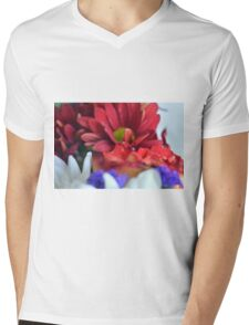 Macro on colorful flower petals in watercolor style Mens V-Neck T-Shirt