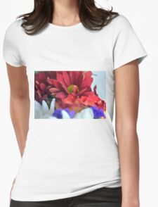 Macro on colorful flower petals in watercolor style Womens Fitted T-Shirt