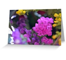 Colorful image in watercolor style with painted flowers. Greeting Card