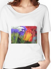 Colorful image in watercolor style with painted flowers. Women's Relaxed Fit T-Shirt