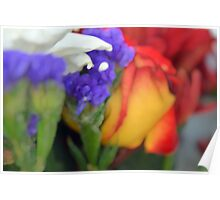 Colorful image in watercolor style with painted flowers. Poster