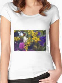 Colorful blurry small flowers pattern. Women's Fitted Scoop T-Shirt