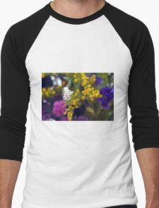 Colorful blurry small flowers pattern. Men's Baseball ¾ T-Shirt