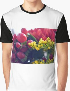 Natural background with small yellow flowers and red fruits. Graphic T-Shirt