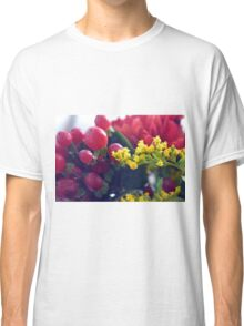 Natural background with small yellow flowers and red fruits. Classic T-Shirt