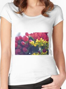 Natural background with small yellow flowers and red fruits. Women's Fitted Scoop T-Shirt