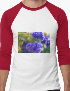 Colorful image in watercolor style with painted flowers. Men's Baseball ¾ T-Shirt