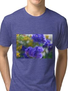 Colorful image in watercolor style with painted flowers. Tri-blend T-Shirt