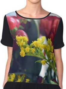 Natural background with small yellow flowers and red fruits. Chiffon Top