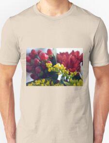 Natural background with small yellow flowers and red fruits. Unisex T-Shirt