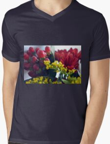 Natural background with small yellow flowers and red fruits. Mens V-Neck T-Shirt