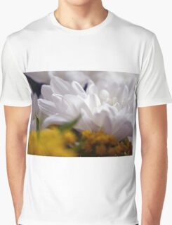 Natural background with white petals and small yellow flowers. Graphic T-Shirt