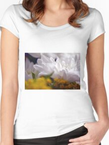 Natural background with white petals and small yellow flowers. Women's Fitted Scoop T-Shirt