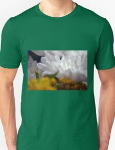 Natural background with white petals and small yellow flowers. Unisex T-Shirt
