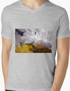 Natural background with white petals and small yellow flowers. Mens V-Neck T-Shirt