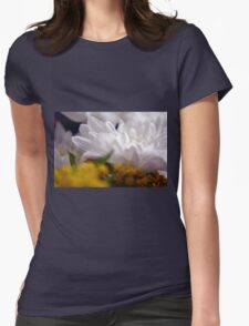 Natural background with white petals and small yellow flowers. Womens Fitted T-Shirt