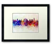 Bali skyline in watercolor background Framed Print