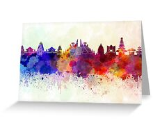 Bali skyline in watercolor background Greeting Card