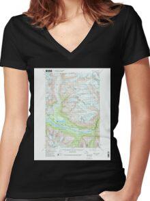 USGS TOPO Map Alaska AK Valdez A-6 360293 1951 63360 Women's Fitted V-Neck T-Shirt