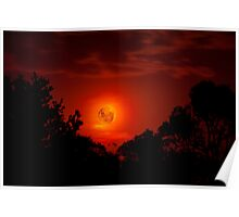 Fiery Blood Moon - Melbourne, Mt Dandenong, Victoria Australia Poster