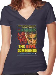 The Devil Commands Women's Fitted V-Neck T-Shirt