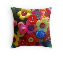 Button flower bouquet Throw Pillow