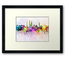 Jakarta skyline in watercolor background Framed Print