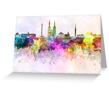 Jakarta skyline in watercolor background Greeting Card