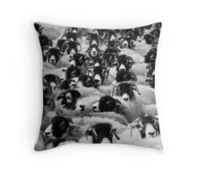 Flock of Sheep Black and White Throw Pillow