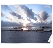 coloured sky - sun rays and wooden dhows Poster