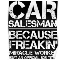 CAR SALESMAN BECAUSE FREAKIN' MIRACLE WORKER ISN'T AN OFFICIAL JOB TITLE Poster