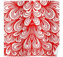 Red Swirls Curls Artistic Pattern Poster