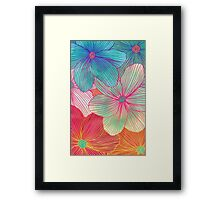 Between the Lines - tropical flowers in pink, orange, blue & mint Framed Print