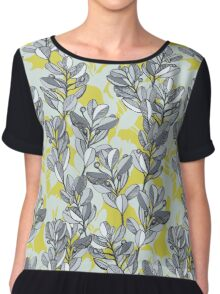 Leaf and Berry Sketch Pattern in Mustard and Ash Chiffon Top