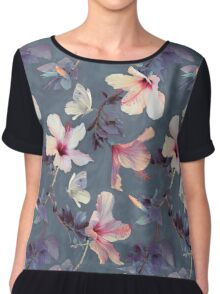 Butterflies and Hibiscus Flowers - a painted pattern Chiffon Top