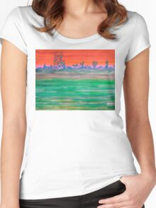 Landscape with Striped Field Women's Fitted Scoop T-Shirt