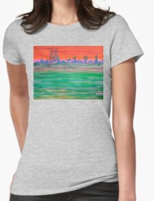 Landscape with Striped Field Womens Fitted T-Shirt