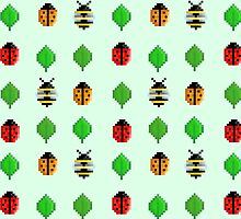 8-Bit Bug and Leaf Pattern by DinoArt
