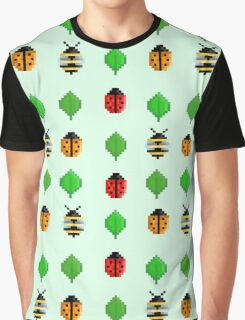8-Bit Bug and Leaf Pattern Graphic T-Shirt