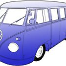Blue VW Camper by Colin Bentham